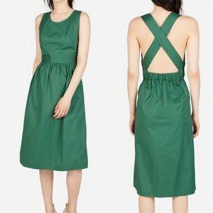 Everlane Clean Cotton Cross Back Green Dress 12